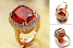 18K Yello Gold Plated Engagement Ring Red.