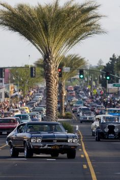 Kool April Nites - Redding CA is 9 day annual event w/ miles of classic cars, music, food & dances. Friday Nite Cruise is one of major highlights w/ sidewalks packed w/ spectators for parade of custom hot rods & restored classics. Main event is Kar Show the following day