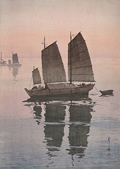 "Japanese Art Print ""Sailing Boats"" by Yoshida Hiroshi (Evening). Shin Hanga and Art Reproductions http://www.amazon.com/dp/B00Y0F1QAO/ref=cm_sw_r_pi_dp_Mv9twb0MG0F28"