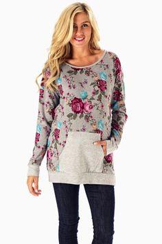 Grey Rose Printed Maternity Sweater Top Model:Natalie Paladin