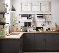 There is no question that designing a new kitchen layout for a large kitchen is much easier than for a small kitchen. A large kitchen provides a designer with adequate space to incorporate many convenient kitchen accessories such as wall ovens, raised. Kitchen Shelves, Kitchen Layout, New Kitchen, Kitchen Dining, Kitchen Decor, Kitchen Cabinets, Kitchen Ideas, Minimalist Kitchen, Pottery Barn