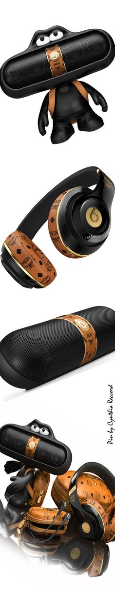 Beats x MCM Collection.  Pill speaker, pill character, mini MCM backpack, MCM studio wireless beats | cynthia reccord