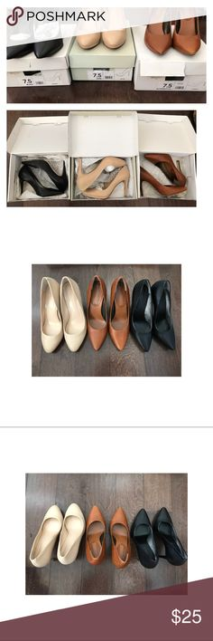 banana republic leather heels pumps bundle shoes bundle of 3 pairs of banana republic heels. nude (dune), brown (butterscotch), and black. all size 7.5 fits true to size. real leather, each worn a few times, no smell, good condition. Banana Republic Shoes
