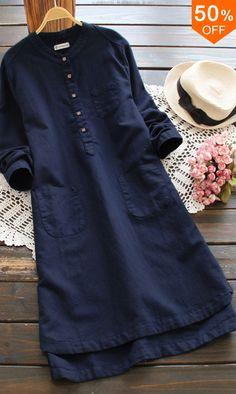 Boho Fashion Over 40, Daily Fashion, Shadi Dresses, Dresses Dresses, Vintage Dresses Online, Sleeves Designs For Dresses, Best Casual Outfits, Mini Shirt Dress, Linen Dresses