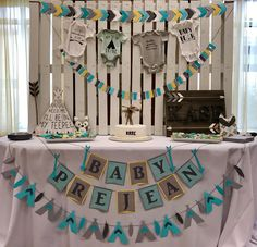 Woodlands baby shower teepee and arrows banners #woodlands #teepee