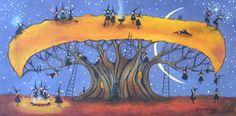 """Halloween Rest Stop"" original folk art painting on canvas by Deborah Gregg"