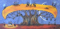 """Halloween Rest Stop"" original folk art painting on canvas by Deborah Gregg"