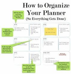 How to organize your planner to get things done is part of Organization Agendas How To Organize - Balancing school work, deadlines, and life can be difficult, and if you are unorganized it's all the harder Read the trick to getting things done
