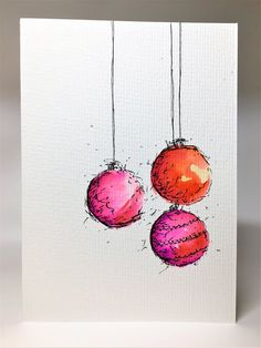 Original Hand Painted Christmas Card – Bauble Collection – Orange, Yellow and Pink – Stationery 2020 Painted Christmas Cards, Watercolor Christmas Cards, Printable Christmas Cards, Christmas Drawing, Diy Christmas Cards, Christmas Paintings, Watercolor Cards, Christmas Wishes, Xmas Cards