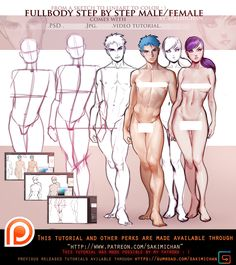 Female. Male Front fullbody tutorial pack .promo. by sakimichan.deviantart.com on @DeviantArt