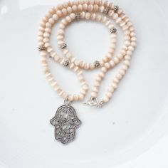 NecklaceBead necklace with  Hamsa Hand pendant FREE by CharmByIA, FREE SHIPPING