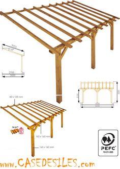 Auvent de terrasse en bois à Prix Plancher : Auvent de terrasse bois adossant 16mc Prado