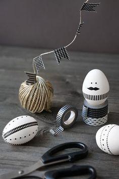 Eieren versierd met masking tape