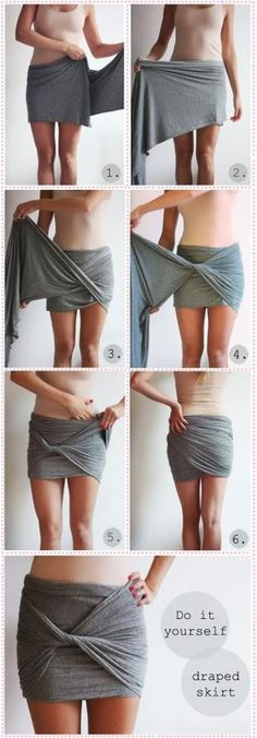 DIY Draped Skirt! Any cool stretch fabric, scarf or old cut up dress could be made into this CUTE skirt! I think I just found another use for my Moby baby sling! Ha!