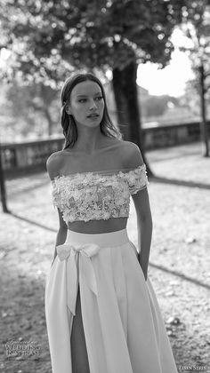 eisen stein 2018 bridal off the shoulder straight across neckline crop top high slit skirt romantic a line wedding dress with pockets sweep train (1) zv mv