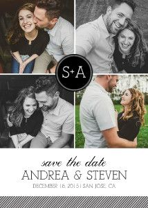 If you have a series of photos from a single event – a collage save-the-date layout is a fabulous way to go.