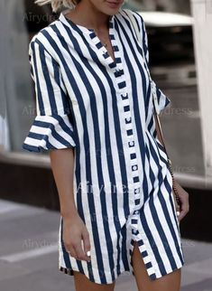 2019 Women Blouse Dress Ladies Striped Long Shirt Dress Loose Button Women Striped Half Sleeve Vintage Female Vestidos Size S Color Blue Half Sleeve Shirts, Bell Sleeve Shirt, Shirt Sleeves, Half Sleeves, Casual Dresses, Fashion Dresses, Floryday Dresses, Dresses Elegant, Cheap Dresses