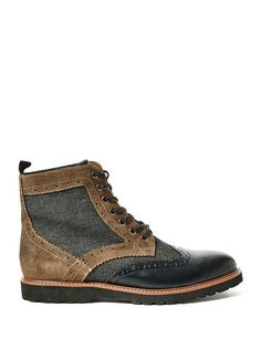 Denim, faux-suede and faux-leather wingtip boots. Teen Guy Fashion, Dope Fashion, Mens Fashion, Fashion Guide, Me Too Shoes, Men's Shoes, Shoe Boots, Gentlemen Wear, Sharp Dressed Man