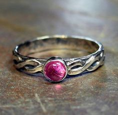 Pretty in Pink - Sterling silver and tourmaline ring    ...from LavenderCottage on Etsy   $36