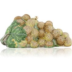 Judith Leiber Couture Grape Cluster Crystal Clutch Bag ($5,470) ❤ liked on Polyvore featuring bags, handbags, clutches, judith leiber, champagne multi, champagne purse, clasp purse, crystal clutches, chain strap purse and crystal purse