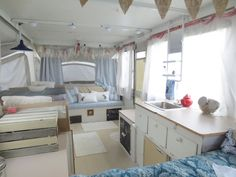 Sweet Meas Home-Made Vintage: Pop Up Camper Make Over DIY Tips.  Doesn't this look clean and fresh?  Beautiful!