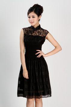 Modern Chinese Style Dress - Modern Chinese Qipao Dress: Modern Black Lace Princess $64.99 (48,96 €)