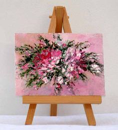 Pink Flowers 3x4 original painting includes stand by valdasfineart  with <3 from JDzigner www.jdzigner.com
