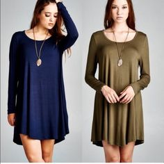 ❗️ TWO COLORS ❗️ Fall Tunic Dress❤️ This is a MUST HAVE, ESSENTIAL piece for every closet! Two colors, navy and olive. Tunic style dress with A-Lind silhouette, rounded neck, unlined, lightwirght, non sheer. Perfect transition through fall. 95% rayon, 5% spandex. Olive - S/L. Navy M/L. Dresses Long Sleeve