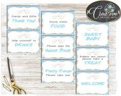 Baby Shower Little Lamb TABLE SIGNS Boy printable blue theme, sheep table signs pack set, digital files, Jpg Pdf, instant download - fa001 #babyshowerparty #babyshowerinvites