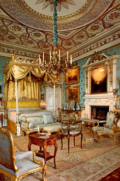 Queen Victoria's Bedroom at Woburn Abbey, Bedfordshire, England, UK