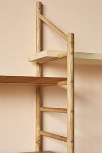Part Of The Mima Collection The Mima Shelving Is A Very Versatile Wall Hung Ladder Shelving System Made In Solid Wood W Shelving Shelving Systems Wall Systems
