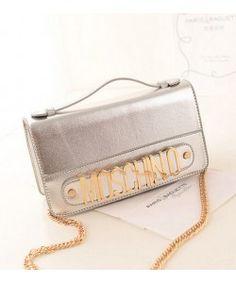 Moschino Women Leather Clutches Satchel Sliver