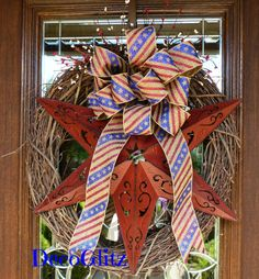 Grapevine Wreath with PATRIOTIC BOW on Red STAR by decoglitz