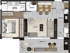 best ideas for house plans duplex beds One Bedroom House Plans, 2 Bedroom Floor Plans, Small House Plans, House Floor Plans, Studio Type Apartment, Apartment Design, Small Space Interior Design, Interior Design Living Room, Tiny Apartments