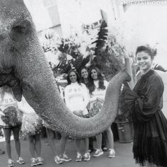 Tai the elephant with Selena Gomez and USC Song Girls, Bruce Weber for Vanity Fair