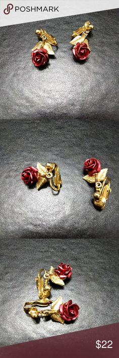 Gold tone clip on earrings Pretty red rose clip on earrings Jewelry Earrings