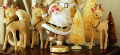Vintage - Santas and Reindeer with Bottle Brush Trees Christmas Open House, Merry Little Christmas, Gold Christmas, Retro Christmas, Christmas Holidays, Christmas Decorations, Holiday Decor, Christmas Trees, Santa And Reindeer