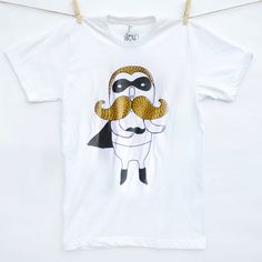 One for the facial hair lovers, this hand screen printed tshirt for him features my hand-drawn Moustache Hero illustration in shimmering gold ink