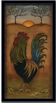 Rooster French Country Kitchen Decor Folk Art Print Framed
