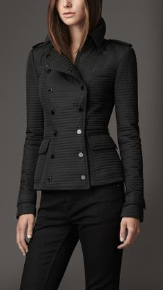 Burberry Military Ribbed Quilt Jacket in Black Winter Coats Women, Coats For Women, Jackets For Women, Clothes For Women, Burberry Quilted Jacket, Fashion Forever, Unique Fashion, Winter Fashion, Cool Outfits
