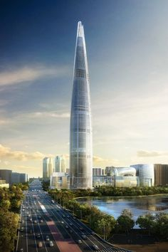 Construction of the Lotte World #Tower in #Seoul, South Korea designed by high-rise architectural firm KPF is well underway. Won via an international #design competition, this new tower will rise up to a pinnacle height of 555 meters.