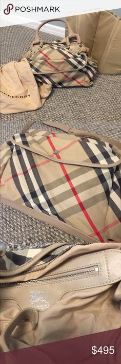 Burberry diaper bag and changing pad Beautiful authentic Burberry diaper bag, look brand new on outside, inside has a few discolored spots, comes with never used changing pad and dust bag Burberry Bags Baby Bags