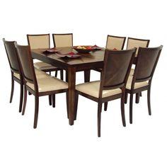COMMODITY   Juego de Comedor / GAURA / Madera  Juego de Comedor (8 personas) OCEAN marca Commodity, mesa rectangular de madera, sillas de madera.