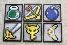 Zelda coasters with perler beads