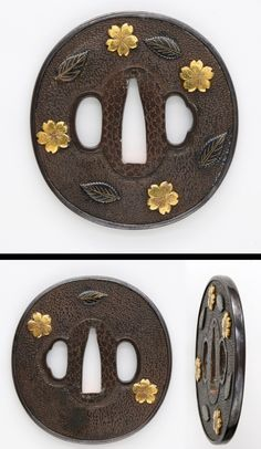 Nanbukucho On the round shape brass isimeji plate, the rim is covered by silver plate. Sakura (cherry blossoms) are engraved with gold color