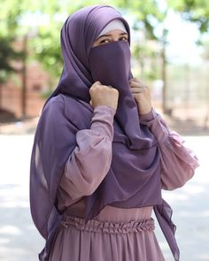 Love this purple 💜 💜 💜 💜 This color and enough 💜💜💜💜 I adore you💜💜💜💜💜💜 ____________________________________ Dress designed by me . Hijab Gown, Hijab Style Dress, Hijab Niqab, Niqab Fashion, Modern Hijab Fashion, Muslim Fashion, Muslim Women Names, Muslim Girls, Hijabi Girl