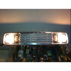 Up-cycling a Dodge grill into a garage shop light.  #Man #Cave #Garage