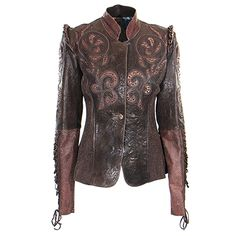 Kippy s tattoo overlay leather jacket with brown python collar at