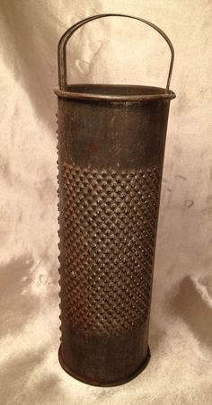 Antique Round Cylinder Punched Tin Food / Spice Grater Primitive #NaivePrimitive