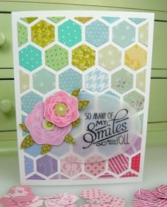 great thing to make from your scrap folder Diy Cards, Handmade Cards, Hexagon Cards, Paper Scraps, Hexagon Pattern, Hexagons, Card Tags, Honeycomb, Washi